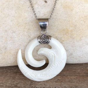 Carved Bone Sterling Silver Spiral Pendant & Chain